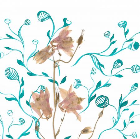 Tablou original Floare Copac, 30x40cm, tehnica mixta, plante presate, tus si vopsea acrilica2
