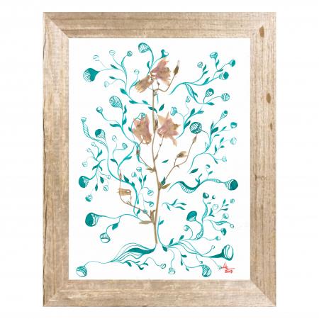 Tablou original Floare Copac, 30x40cm, tehnica mixta, plante presate, tus si vopsea acrilica0