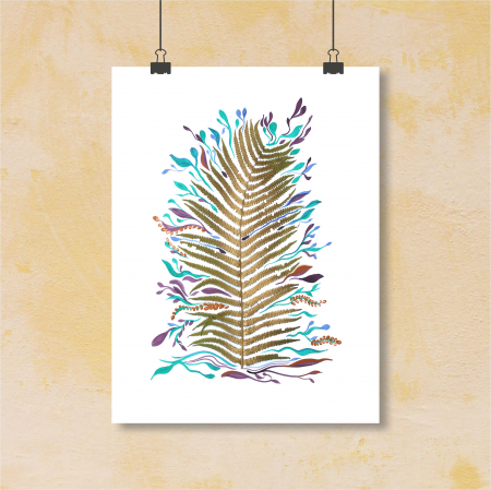 Poster Frunza fantezie, 30x40cm, carton texturat0