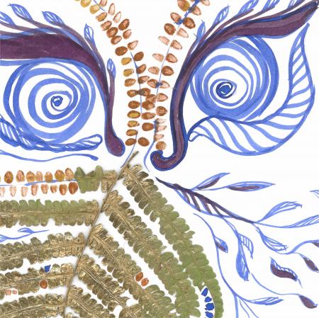 Feriga Barba - ilustratie in tehnica mixta, plante presate, tus si vopsea acrilica4