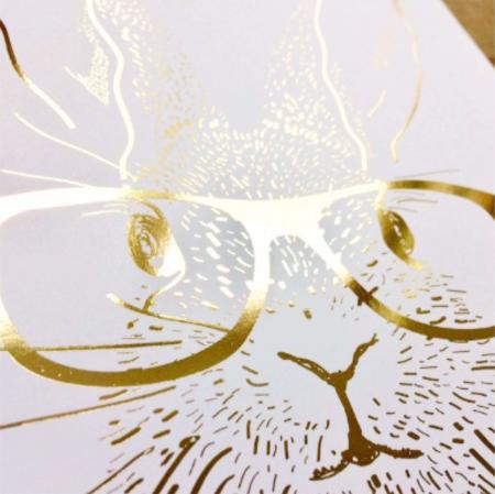 Iepure cu Ochelari, colaj metalic auriu [7]