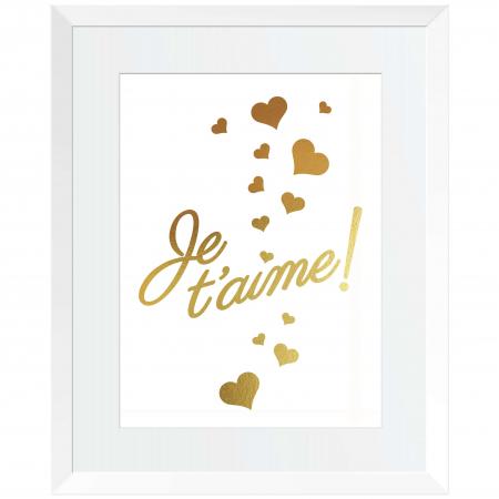 Tablou Je t'aime, 24x30cm, colaj metalic auriu, cadou indragostiti0