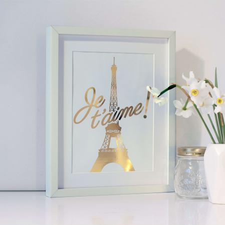 Poster Je t'aime Paris, 21x30cm, colaj metalic auriu [2]