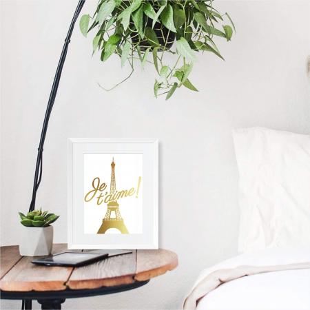 Poster Je t'aime Paris, 21x30cm, colaj metalic auriu [5]