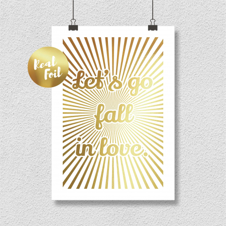 Tablou Let's go fall in love, 24x30cm, colaj metalic auriu, cadou indragositi6