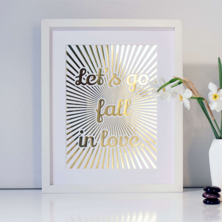 Tablou Let's go fall in love, 24x30cm, colaj metalic auriu, cadou indragositi1