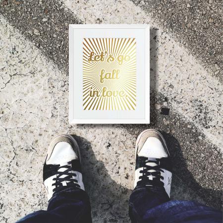 Tablou Let's go fall in love, 24x30cm, colaj metalic auriu, cadou indragositi5