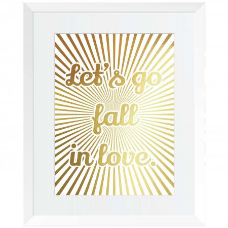 Tablou Let's go fall in love, 24x30cm, colaj metalic auriu, cadou indragositi0