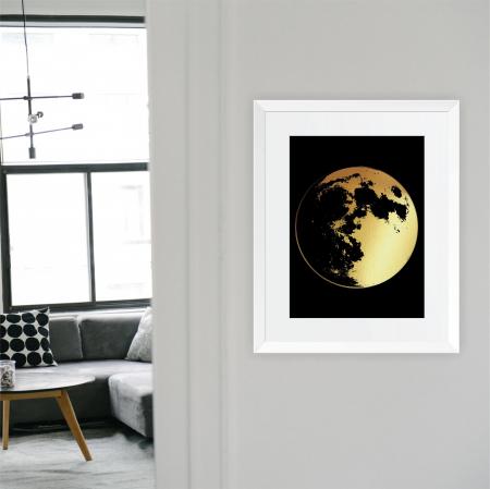 Tablou Luna Plina, 24x30cm, colaj metalic auriu4