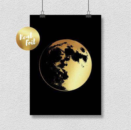 Tablou Luna Plina, 24x30cm, colaj metalic auriu3