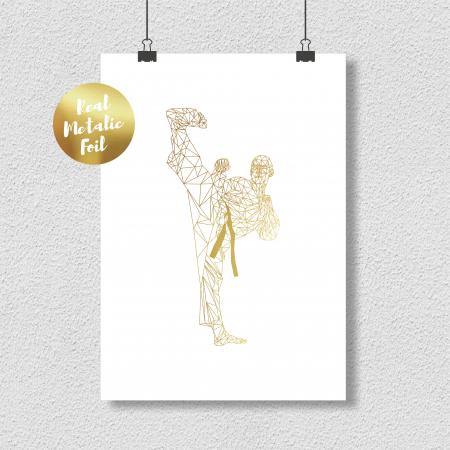 Tablou Luptator, arte martiale, colaj metalic auriu, inramat, 24x30 cm [0]