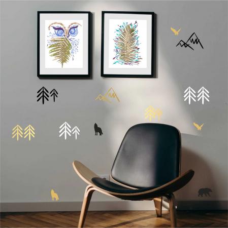 Munti, sticker decorativ decupat, auriu mat, pentru interior1