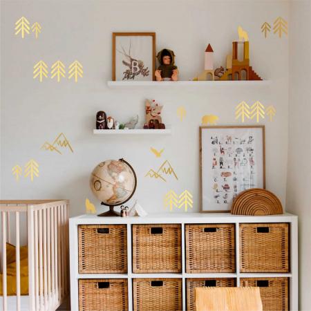 Munti, sticker decorativ decupat, auriu mat, pentru interior0