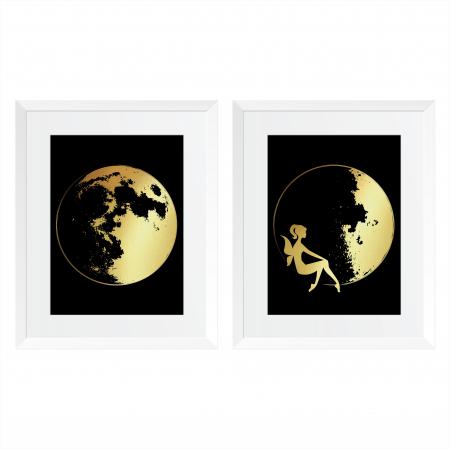 Luna, set 2 tablouri, fazele lunii, colaj manual auriu stralucitor, 24X30cm/buc0