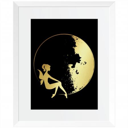 Luna, set 2 tablouri, fazele lunii, colaj manual auriu stralucitor, 24X30cm/buc2