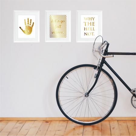 Atitudine, set 3 tablouri, colaj manual auriu, 24x30cm/buc4