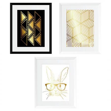Set cadou 3 Tablouri Rabbit went home, colaj metalic auriu, 3 piese 24x30cm/buc [0]