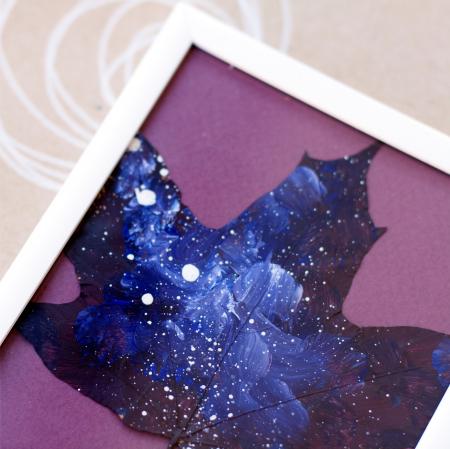 Set Cadou, Calea Lactee, set 3 mici tabouri pictate manual, frunze de artar, vopsea acrilica8