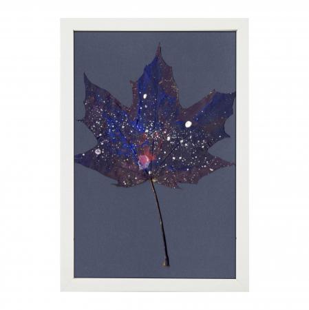 Set Cadou, Calea Lactee, set 3 mici tabouri pictate manual, frunze de artar, vopsea acrilica2