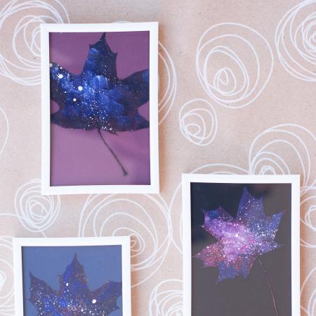 Set Cadou, Calea Lactee, set 3 mici tabouri pictate manual, frunze de artar, vopsea acrilica4