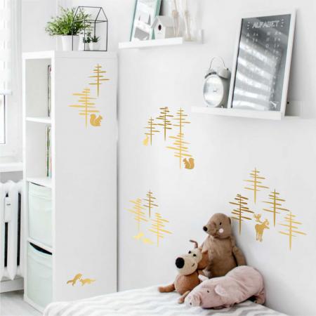 Paduri, sticker decorativ decupat, auriu mat, pentru interior0