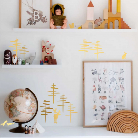 Paduri, sticker decorativ decupat, auriu mat, pentru interior1