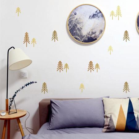 Pini, sticker decorativ decupat, auriu mat, pentru interior0