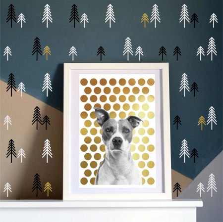 Pini, sticker decorativ decupat, auriu mat, pentru interior5