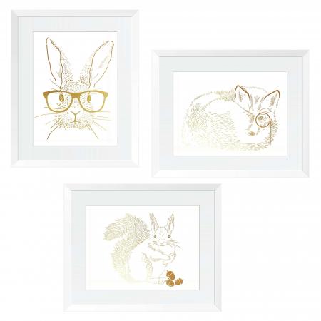 Animalele padurii, set 3 tablouri, Veverita, Vulpea si Iepurele, dimensiune 24x30cm/buc0