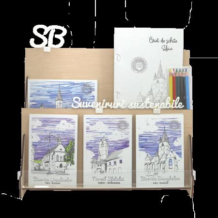 Stand cu 4 seturi de carti postale si 1 set caiet de schite, Sibiu0