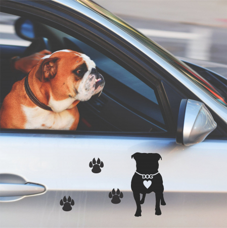 Sticker auto Dog Love, 15x15cm x 2 foi, rezistent la uzura [3]