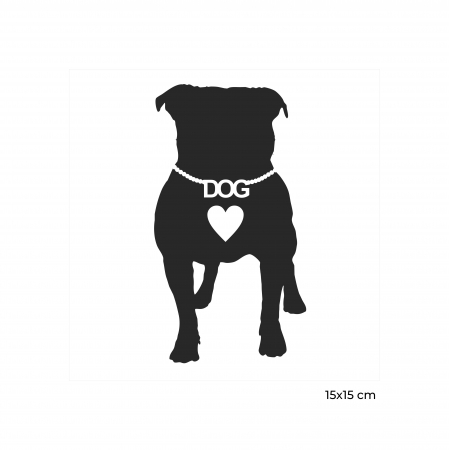 Sticker auto Dog Love, 15x15cm x 2 foi, rezistent la uzura [1]