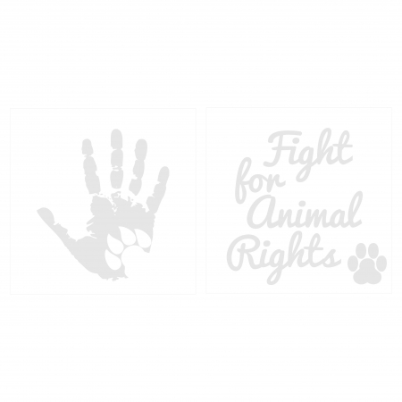 Sticker Auto Animal Rights, 15x15cm x 2 foi, rezistent la uzura5