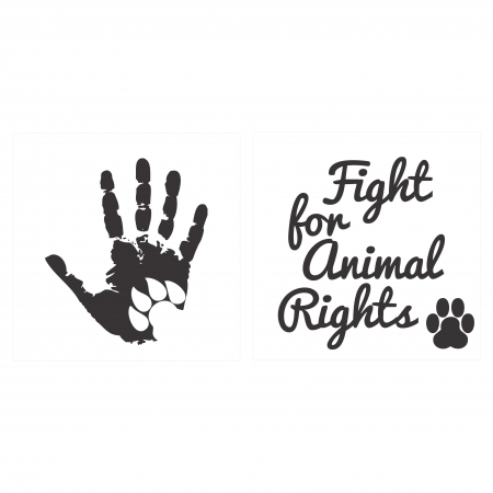 Sticker Auto Animal Rights, 15x15cm x 2 foi, rezistent la uzura0