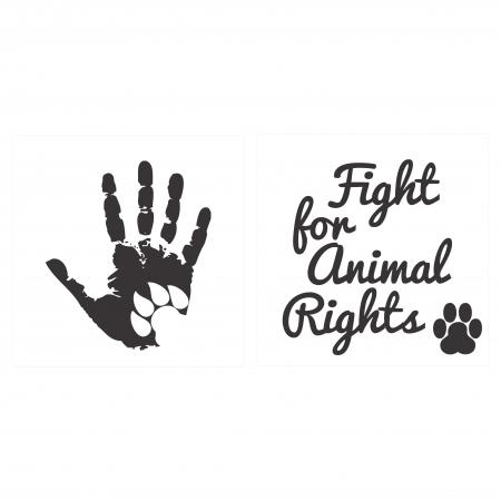 Sticker Auto Animal Rights, 15x15cm x 2 foi, rezistent la uzura [0]