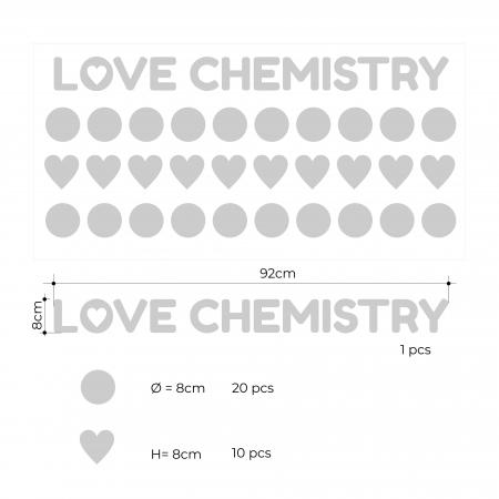 Love Chemistry, auriu mat, sticker decupat, pentru interior1