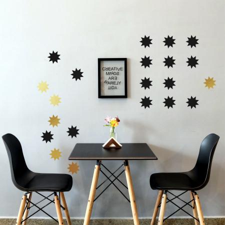 Stele, auriu mat, sticker decupat, pentru interior, 50 bucati/set3