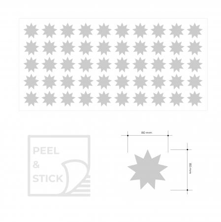 Stele, auriu mat, sticker decupat, pentru interior, 50 bucati/set4