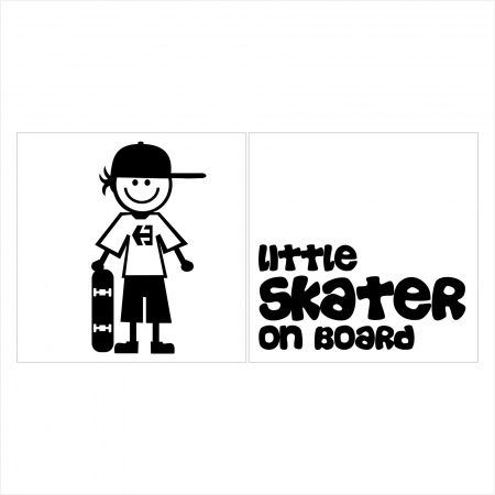 Stickere Little SKATER on board, 15x15cm x 2 foi, rezistent la uzura0
