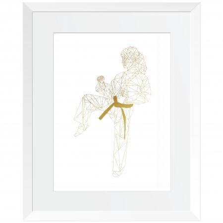 Tablou decorativ, Arte Martiale, Fata,  Auriu stralucitor Anais, inramat, 24x30 cm0