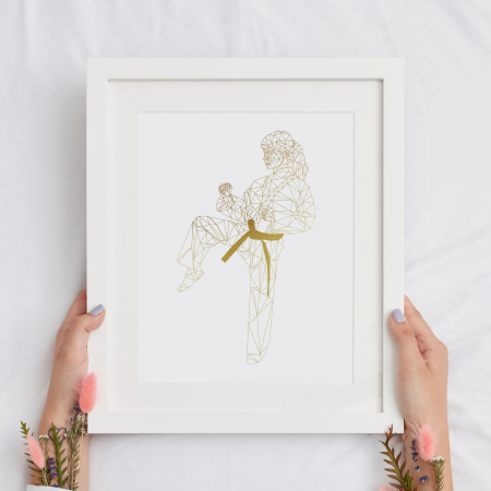 Tablou decorativ, Arte Martiale, Fata,  Auriu stralucitor Anais, inramat, 24x30 cm2