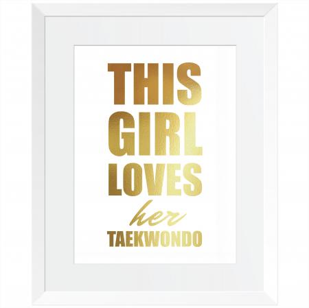 Tablou decorativ, motivational, Taekwondo, arte martiale, auriu stralucitor Anais, inramat, 24x30 cm [3]
