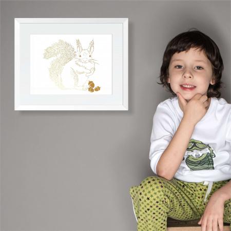 Tablou Veverita cu ghinde, 24x30cm, colaj metalic auriu, animalele padurii1