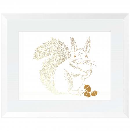 Tablou Veverita cu ghinde, 24x30cm, colaj metalic auriu, animalele padurii0