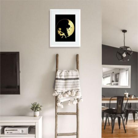 Tablou Luna si Zana, 40x50cm, colaj metalic auriu, cadou pentru ea1