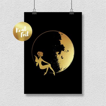 Tablou Luna si Zana, 40x50cm, colaj metalic auriu, cadou pentru ea3