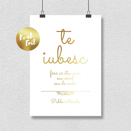 Tablou Te iubesc, 40x50cm, colaj metalic auriu, Valentine's Day, Dragobete3