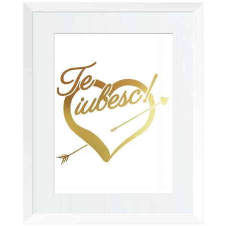 Tablou Te iubesc din toata inima, 24x30cm, colaj metalic auriu0