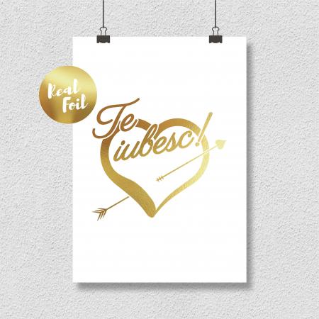 Tablou Te iubesc din toata inima, 24x30cm, colaj metalic auriu4
