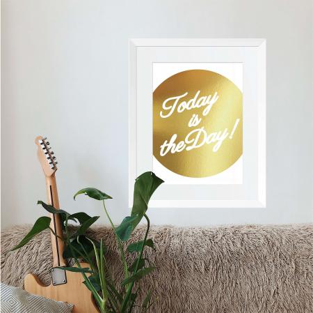 Tablou Today, 40x50cm, colaj metalic auriu, mesaj inspirational1